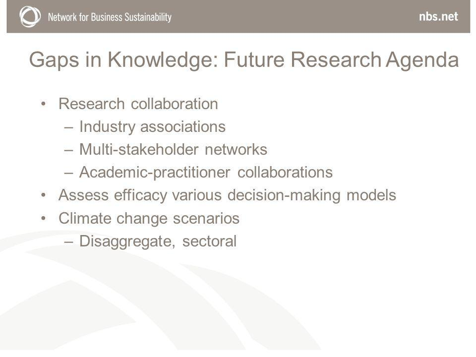 Gaps in Knowledge: Future Research Agenda Research collaboration –Industry associations –Multi-stakeholder networks –Academic-practitioner collaborations Assess efficacy various decision-making models Climate change scenarios –Disaggregate, sectoral