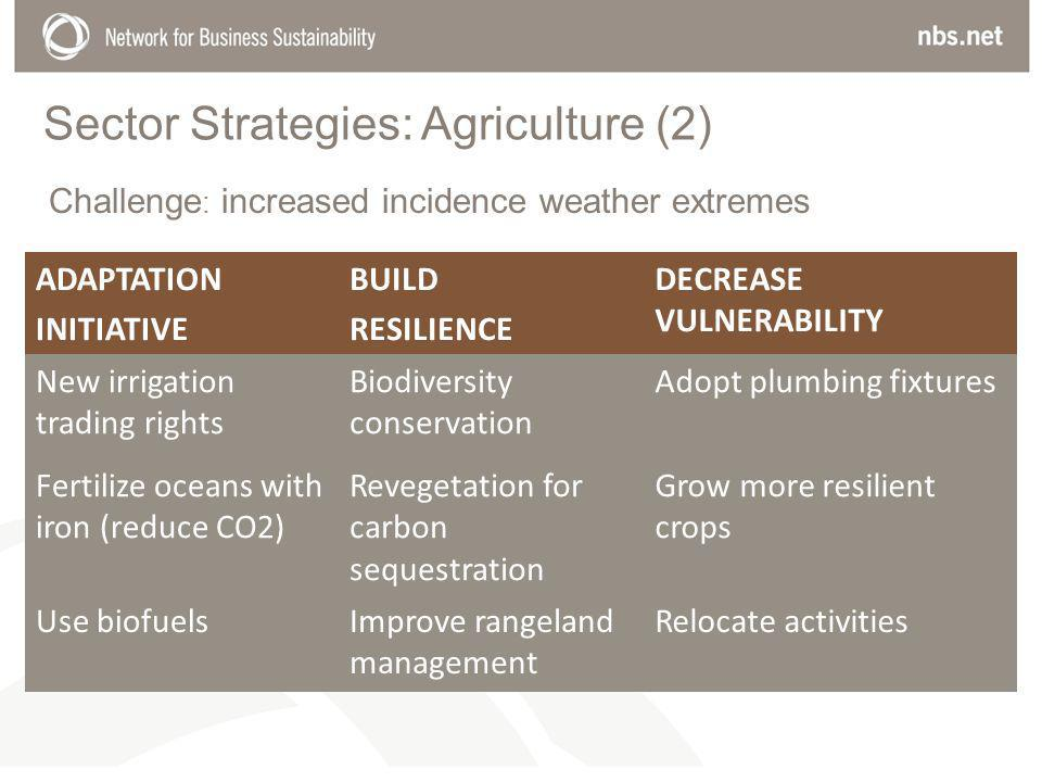 Sector Strategies: Agriculture (2) ADAPTATION INITIATIVE BUILD RESILIENCE DECREASE VULNERABILITY New irrigation trading rights Biodiversity conservation Adopt plumbing fixtures Fertilize oceans with iron (reduce CO2) Revegetation for carbon sequestration Grow more resilient crops Use biofuelsImprove rangeland management Relocate activities Challenge : increased incidence weather extremes