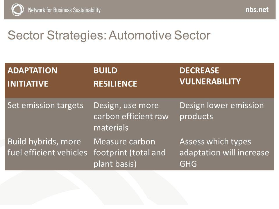 Sector Strategies: Automotive Sector ADAPTATION INITIATIVE BUILD RESILIENCE DECREASE VULNERABILITY Set emission targetsDesign, use more carbon efficient raw materials Design lower emission products Build hybrids, more fuel efficient vehicles Measure carbon footprint (total and plant basis) Assess which types adaptation will increase GHG