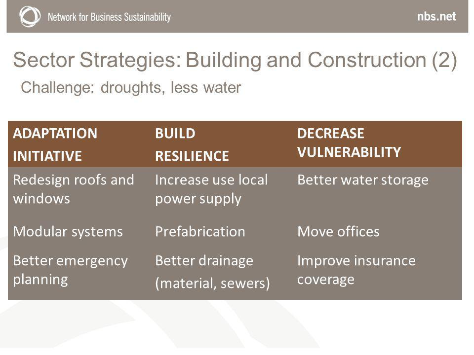 Sector Strategies: Building and Construction (2) ADAPTATION INITIATIVE BUILD RESILIENCE DECREASE VULNERABILITY Redesign roofs and windows Increase use local power supply Better water storage Modular systemsPrefabricationMove offices Better emergency planning Better drainage (material, sewers) Improve insurance coverage Challenge: droughts, less water
