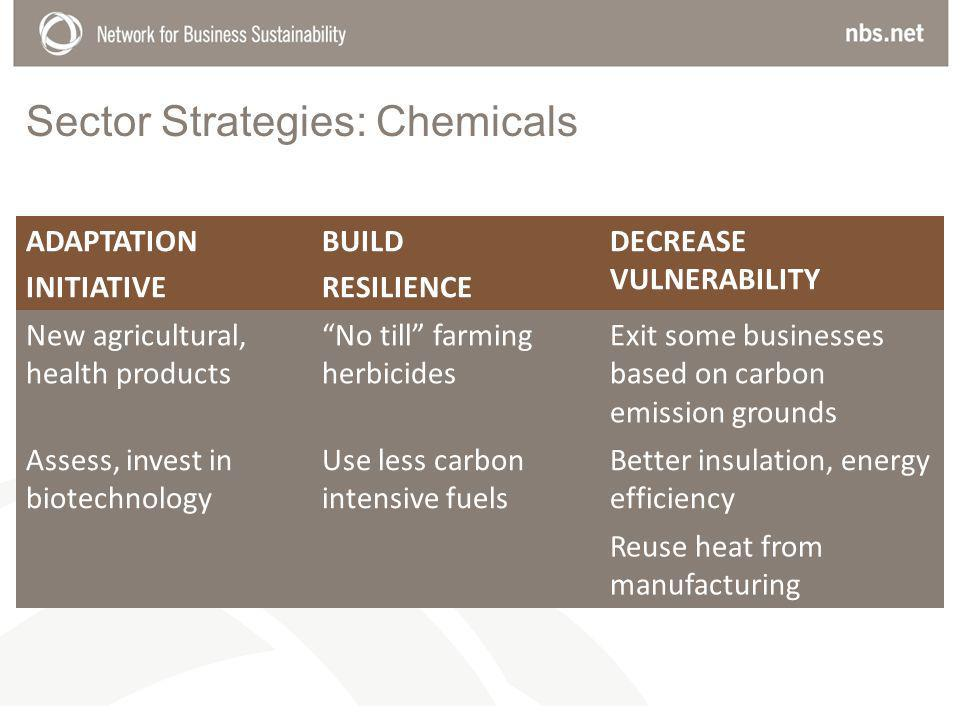 Sector Strategies: Chemicals ADAPTATION INITIATIVE BUILD RESILIENCE DECREASE VULNERABILITY New agricultural, health products No till farming herbicides Exit some businesses based on carbon emission grounds Assess, invest in biotechnology Use less carbon intensive fuels Better insulation, energy efficiency Reuse heat from manufacturing