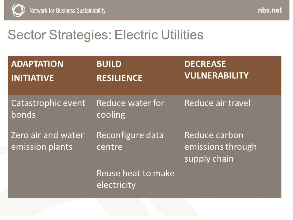 Sector Strategies: Electric Utilities ADAPTATION INITIATIVE BUILD RESILIENCE DECREASE VULNERABILITY Catastrophic event bonds Reduce water for cooling Reduce air travel Zero air and water emission plants Reconfigure data centre Reduce carbon emissions through supply chain Reuse heat to make electricity