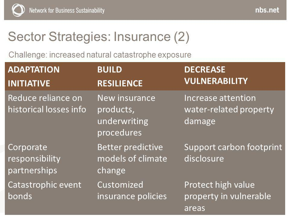 Sector Strategies: Insurance (2) ADAPTATION INITIATIVE BUILD RESILIENCE DECREASE VULNERABILITY Reduce reliance on historical losses info New insurance products, underwriting procedures Increase attention water-related property damage Corporate responsibility partnerships Better predictive models of climate change Support carbon footprint disclosure Catastrophic event bonds Customized insurance policies Protect high value property in vulnerable areas Challenge: increased natural catastrophe exposure