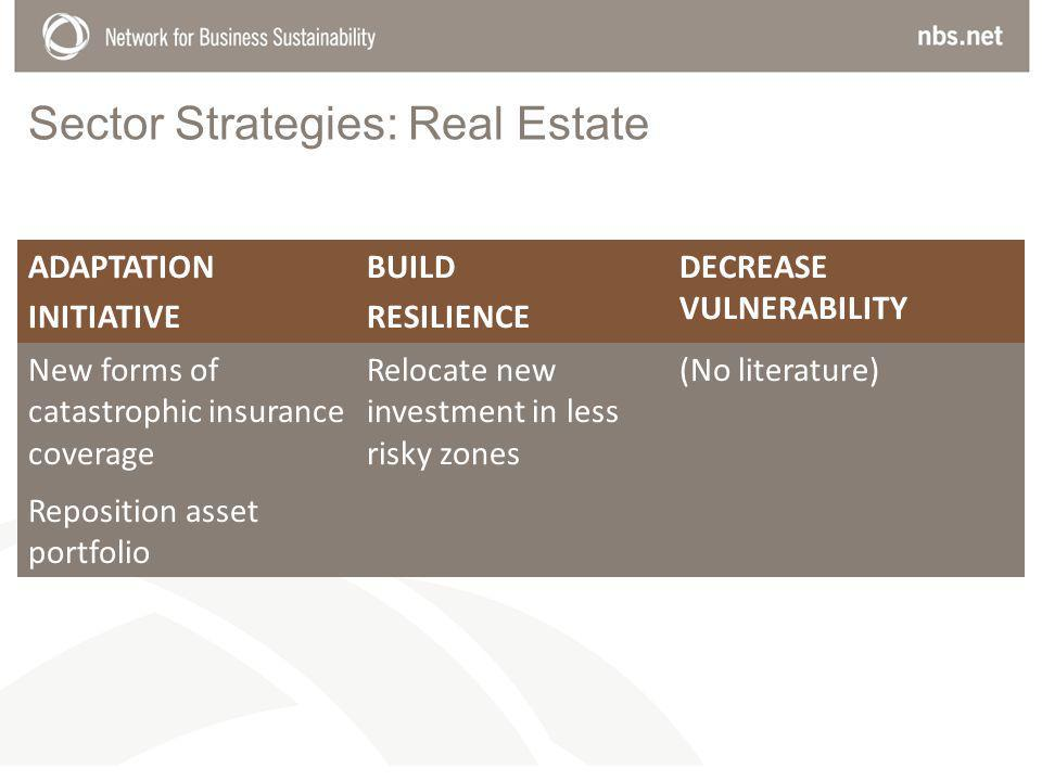 Sector Strategies: Real Estate ADAPTATION INITIATIVE BUILD RESILIENCE DECREASE VULNERABILITY New forms of catastrophic insurance coverage Relocate new investment in less risky zones (No literature) Reposition asset portfolio