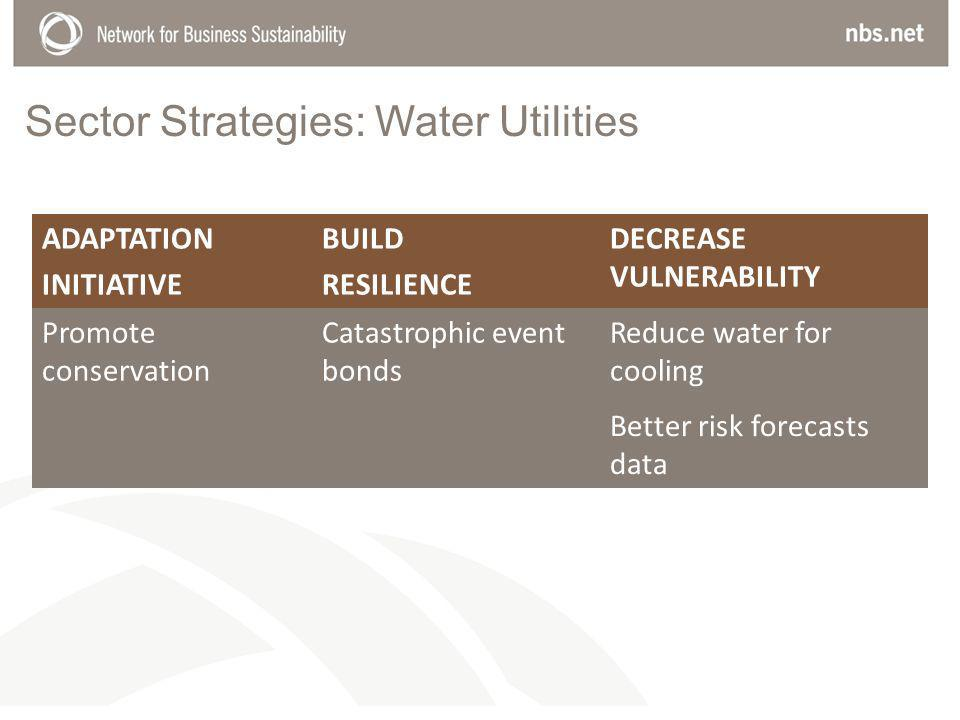 Sector Strategies: Water Utilities ADAPTATION INITIATIVE BUILD RESILIENCE DECREASE VULNERABILITY Promote conservation Catastrophic event bonds Reduce water for cooling Better risk forecasts data