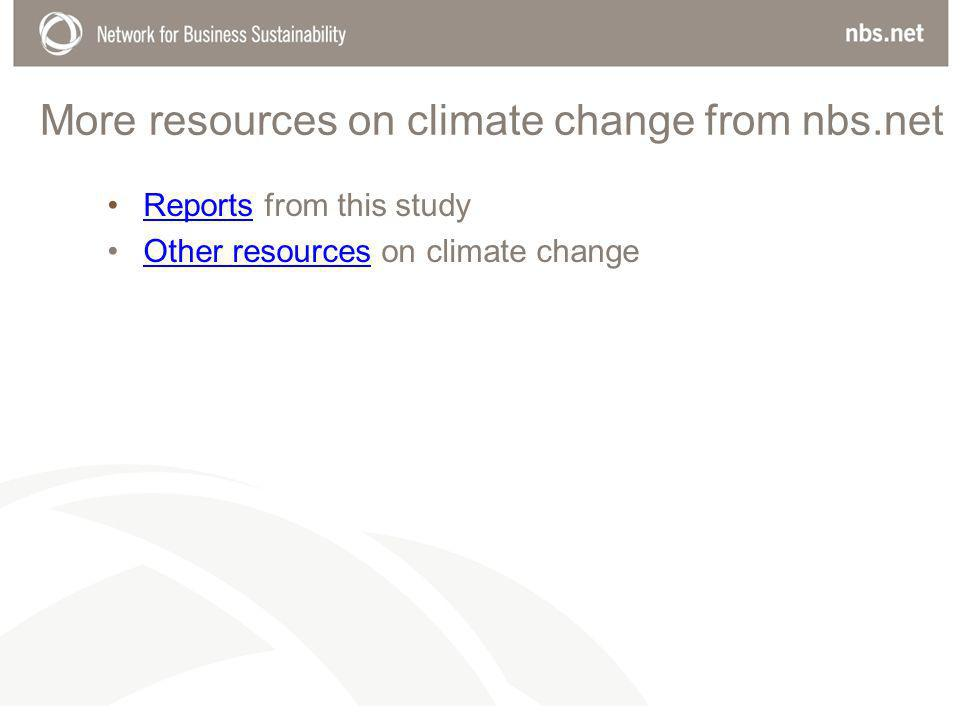 More resources on climate change from nbs.net Reports from this studyReports Other resources on climate changeOther resources