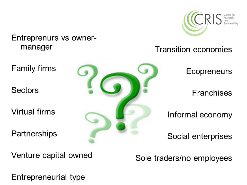 Entreprenurs vs owner- manager Family firms Sectors Virtual firms Partnerships Venture capital owned Entrepreneurial type Transition economies Ecopren