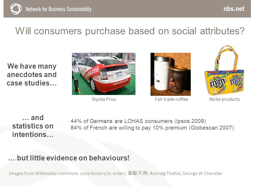 Will consumers purchase based on social attributes.