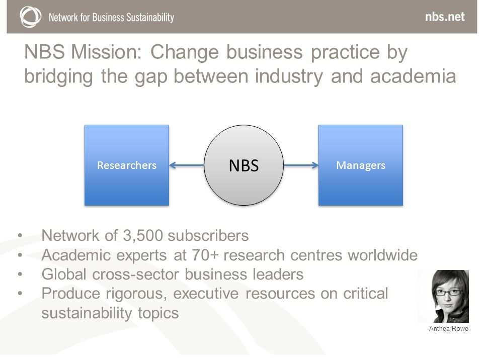 NBS Mission: Change business practice by bridging the gap between industry and academia Researchers Managers NBS Network of 3,500 subscribers Academic experts at 70+ research centres worldwide Global cross-sector business leaders Produce rigorous, executive resources on critical sustainability topics Anthea Rowe