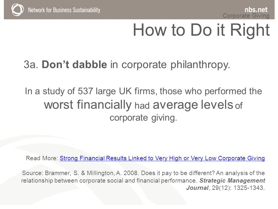 Read More: Strong Financial Results Linked to Very High or Very Low Corporate GivingStrong Financial Results Linked to Very High or Very Low Corporate Giving Source: Brammer, S.