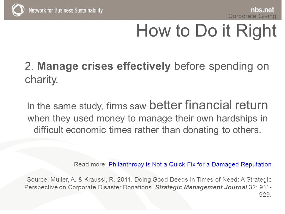 2. Manage crises effectively before spending on charity.