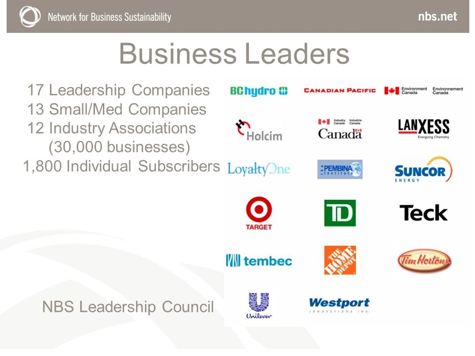 Business Leaders 17 Leadership Companies 13 Small/Med Companies 12 Industry Associations (30,000 businesses) 1,800 Individual Subscribers NBS Leadership Council