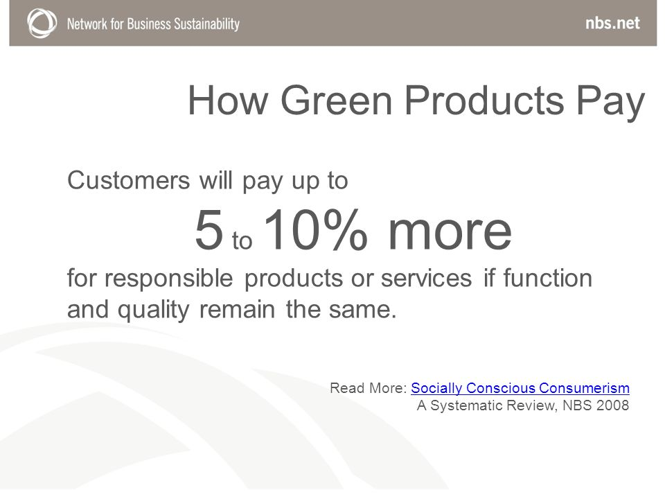 How Green Products Pay Customers will pay up to 5 to 10% more for responsible products or services if function and quality remain the same.