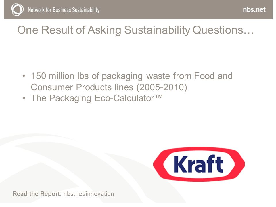 One Result of Asking Sustainability Questions… 150 million lbs of packaging waste from Food and Consumer Products lines ( ) The Packaging Eco-Calculator Read the Report: nbs.net/innovation