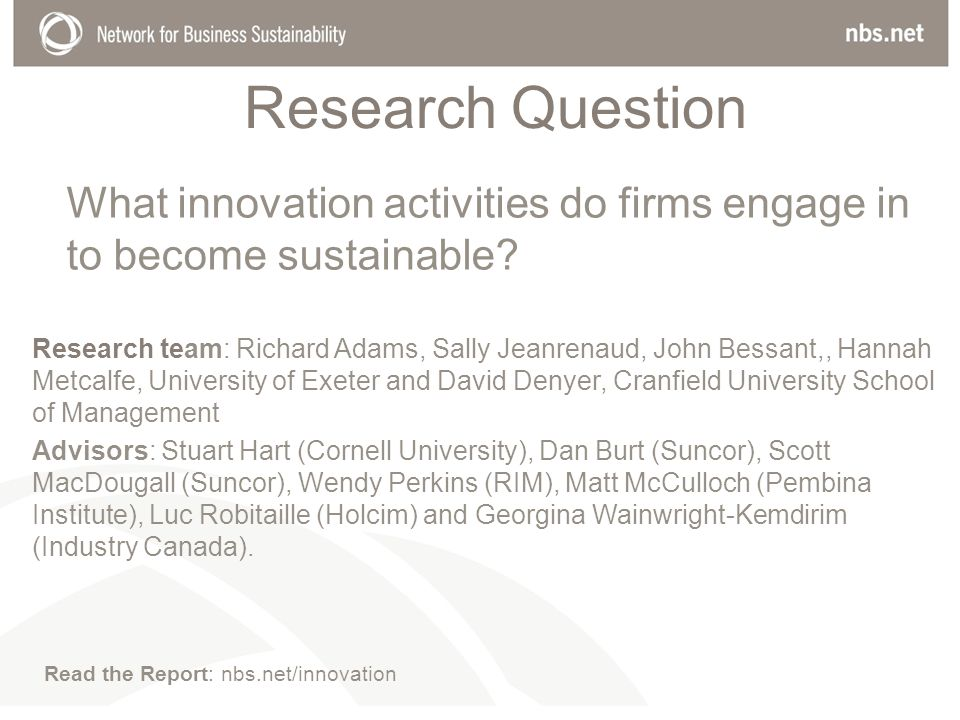 Research Question What innovation activities do firms engage in to become sustainable.