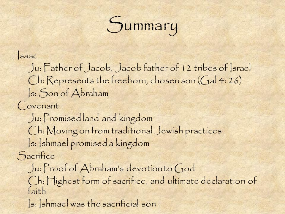 Summary Isaac Ju: Father of Jacob, Jacob father of 12 tribes of Israel Ch: Represents the freeborn, chosen son (Gal 4: 26) Is: Son of Abraham Covenant Ju: Promised land and kingdom Ch: Moving on from traditional Jewish practices Is: Ishmael promised a kingdom Sacrifice Ju: Proof of Abrahams devotion to God Ch: Highest form of sacrifice, and ultimate declaration of faith Is: Ishmael was the sacrificial son