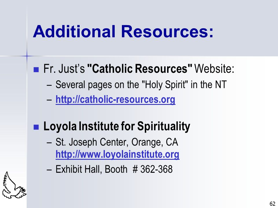 62 Additional Resources: Fr. Justs