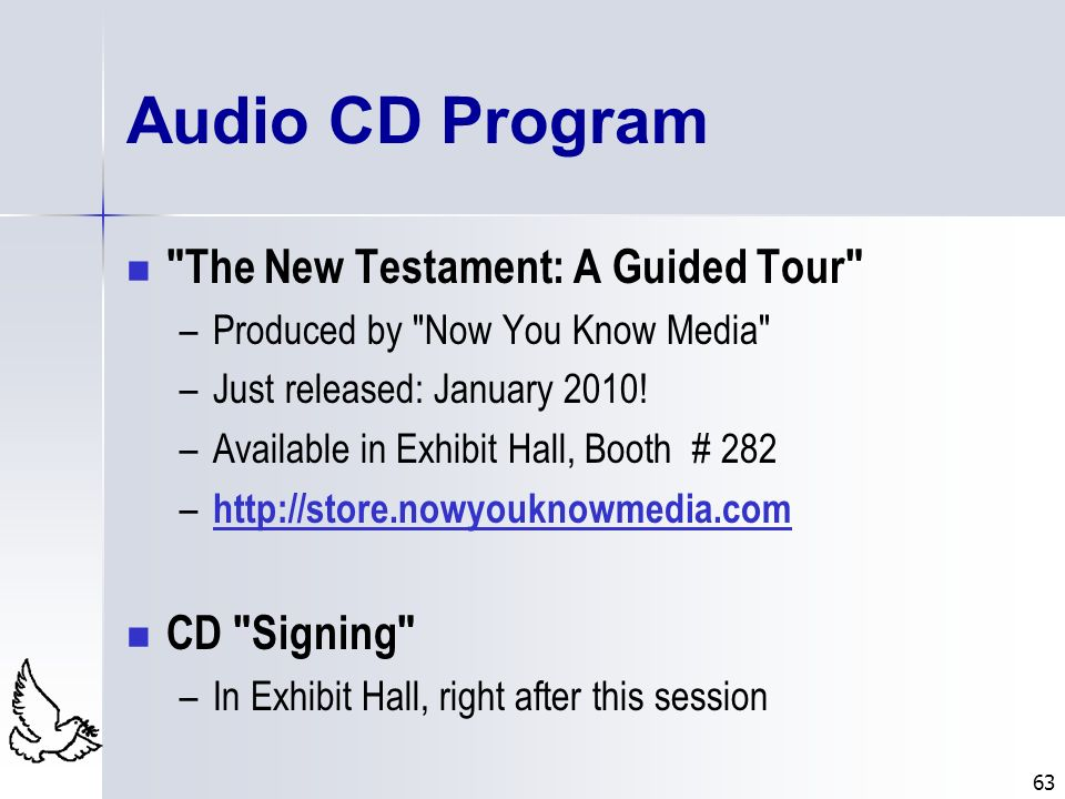 63 Audio CD Program
