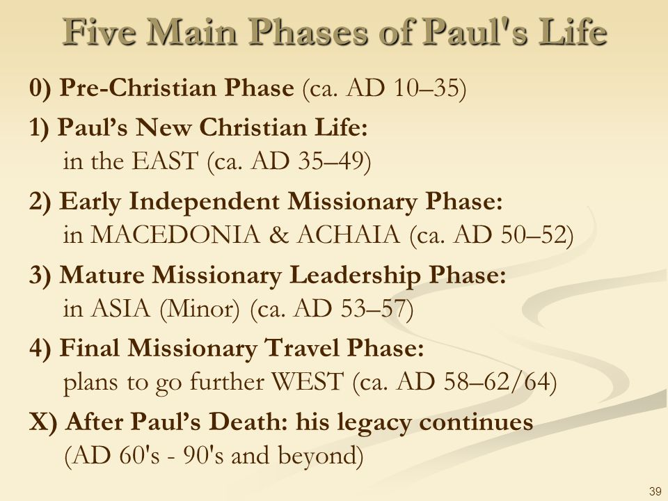 39 Five Main Phases of Paul's Life 0) Pre-Christian Phase (ca. AD 10–35) 1) Pauls New Christian Life: in the EAST (ca. AD 35–49) 2) Early Independent