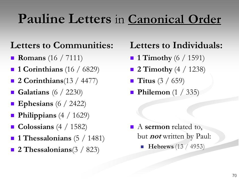 70 Pauline Letters in Canonical Order Letters to Communities: Romans (16 / 7111) 1 Corinthians (16 / 6829) 2 Corinthians(13 / 4477) Galatians (6 / 223