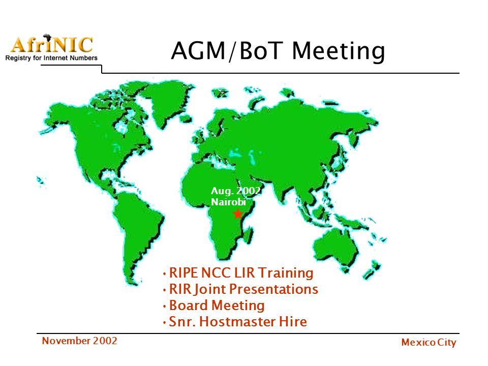 Mexico City November 2002 AGM/BoT Meeting Aug. 2002 Nairobi RIPE NCC LIR Training RIR Joint Presentations Board Meeting Snr. Hostmaster Hire