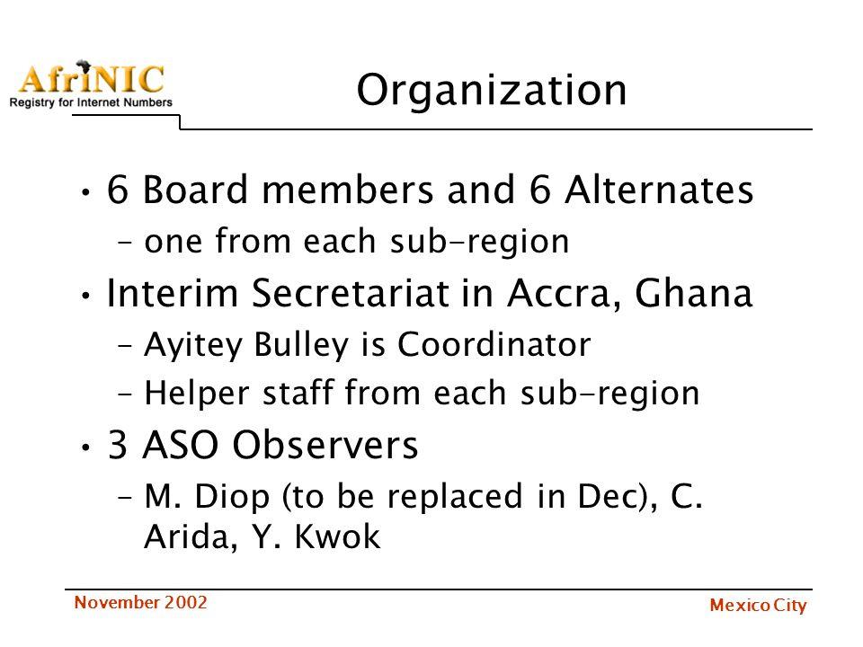Mexico City November 2002 Organization 6 Board members and 6 Alternates –one from each sub-region Interim Secretariat in Accra, Ghana –Ayitey Bulley i