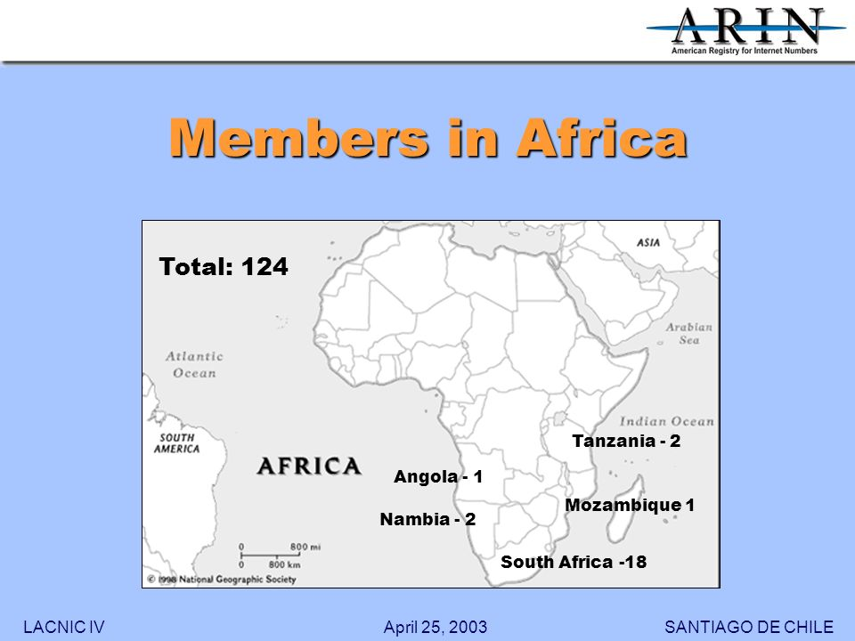 LACNIC IVSANTIAGO DE CHILEApril 25, 2003 Members in Africa 18 1 2 2 1 South Africa -18 Nambia - 2 Angola - 1 Tanzania - 2 Mozambique 1 Total: 124