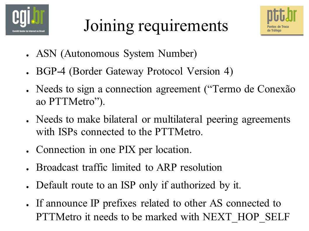 Joining requirements ASN (Autonomous System Number) BGP-4 (Border Gateway Protocol Version 4) Needs to sign a connection agreement (Termo de Conexão ao PTTMetro).