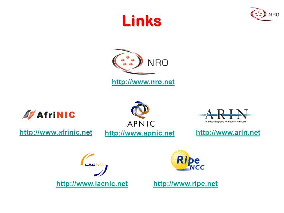 Links http://www.afrinic.net http://www.apnic.net http://www.arin.net http://www.lacnic.nethttp://www.ripe.net http://www.nro.net