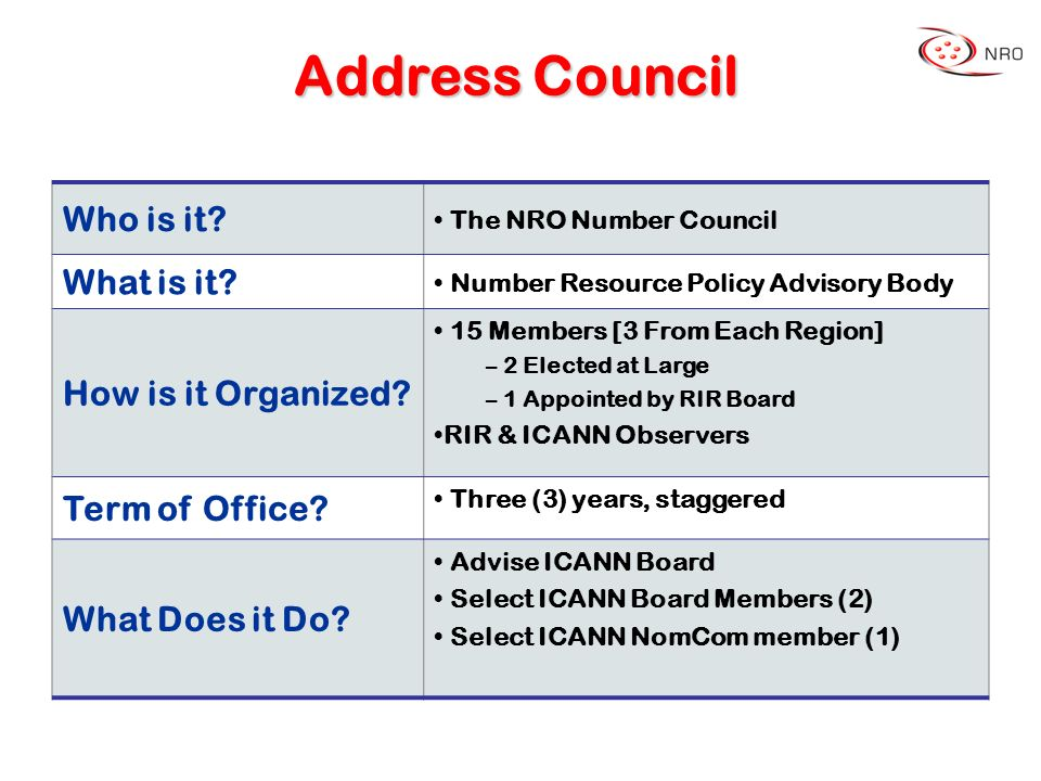 Address Council Who is it. The NRO Number Council What is it.