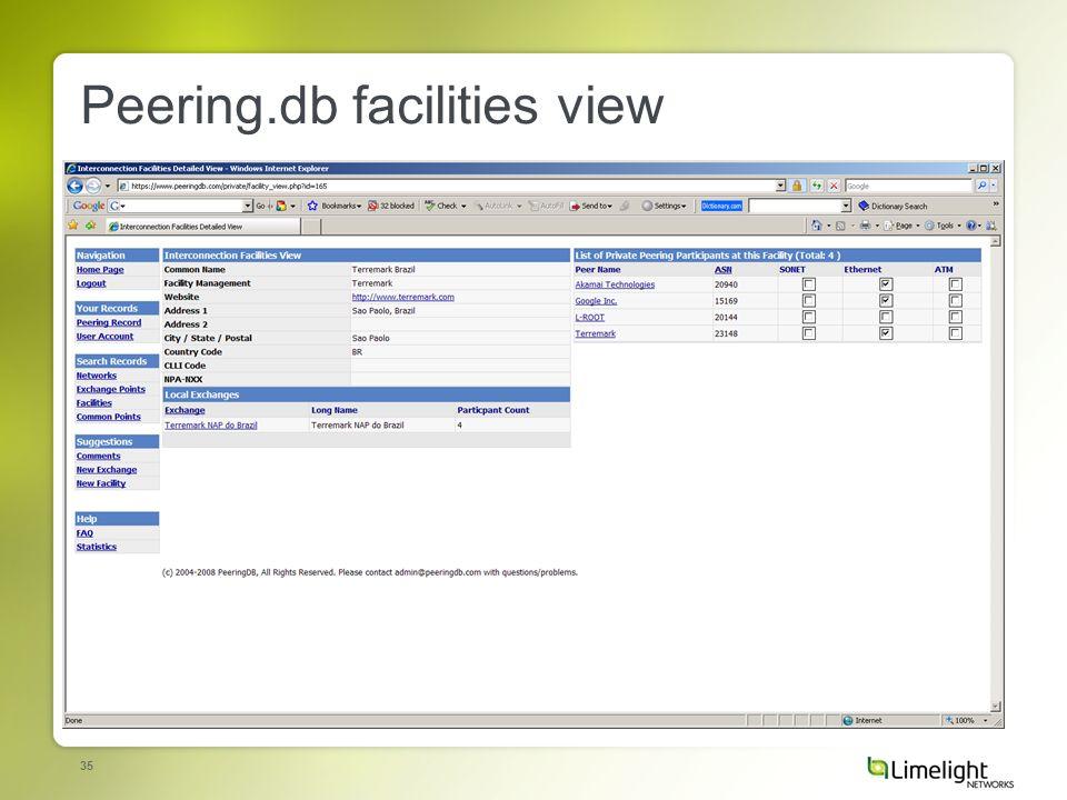 35 Peering.db facilities view