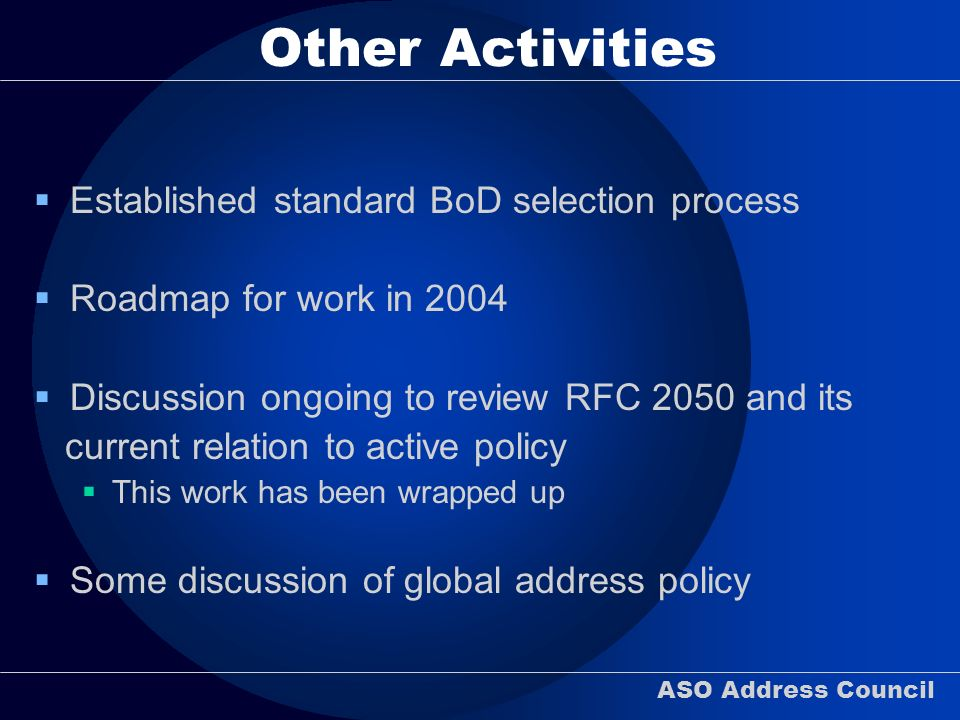 ASO Address Council Other Activities Established standard BoD selection process Roadmap for work in 2004 Discussion ongoing to review RFC 2050 and its