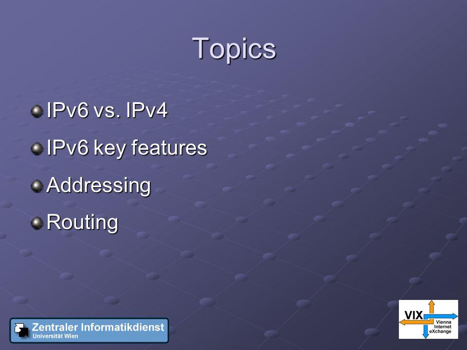 Topics IPv6 vs. IPv4 IPv6 key features AddressingRouting