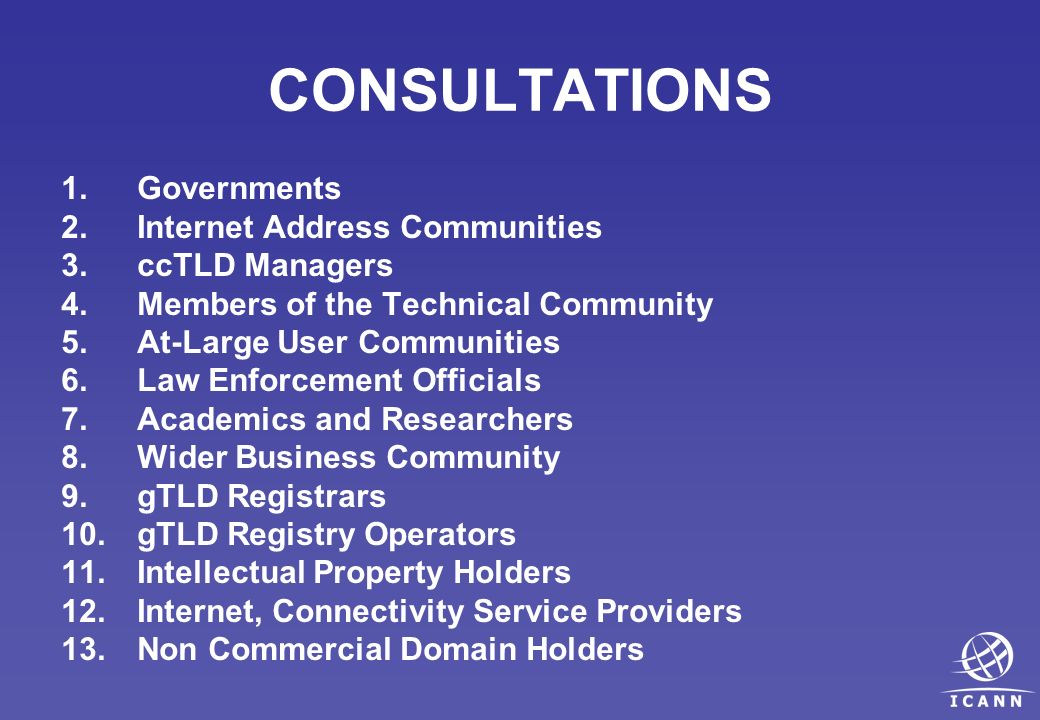 CONSULTATIONS 1.Governments 2.Internet Address Communities 3.ccTLD Managers 4.Members of the Technical Community 5.At-Large User Communities 6.Law Enforcement Officials 7.Academics and Researchers 8.Wider Business Community 9.gTLD Registrars 10.gTLD Registry Operators 11.Intellectual Property Holders 12.Internet, Connectivity Service Providers 13.Non Commercial Domain Holders
