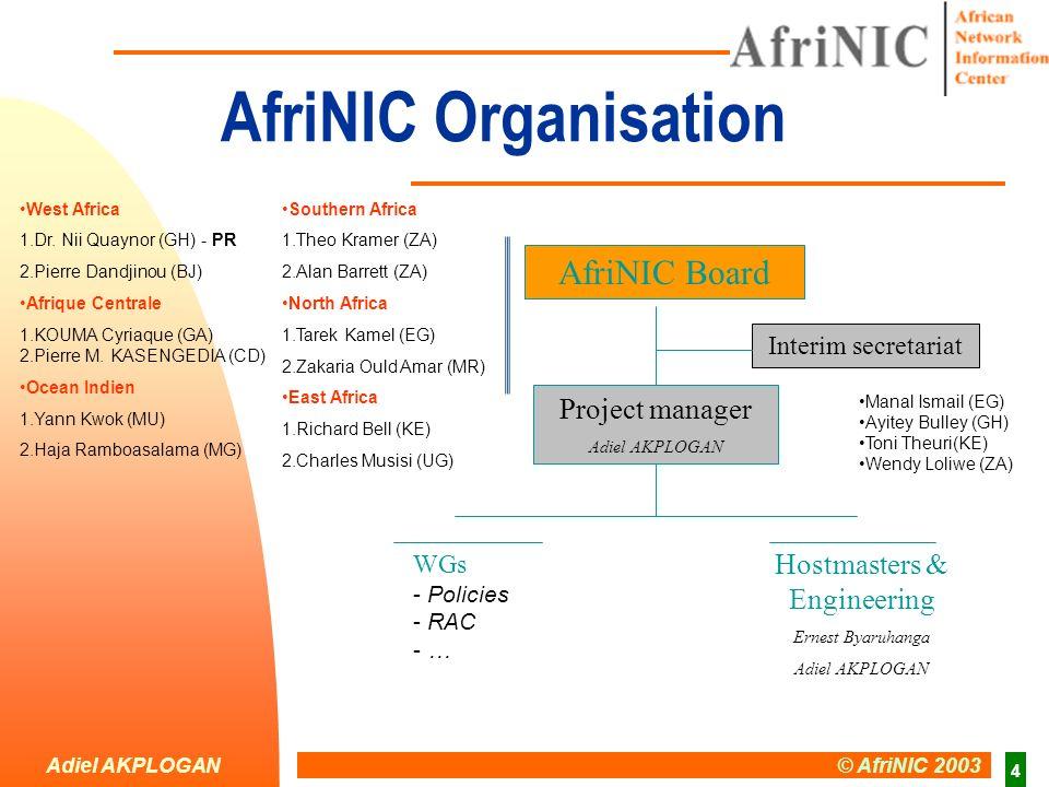 Adiel AKPLOGAN © AfriNIC 2003 15 End Thank you afrinic-discuss@afrinic.org