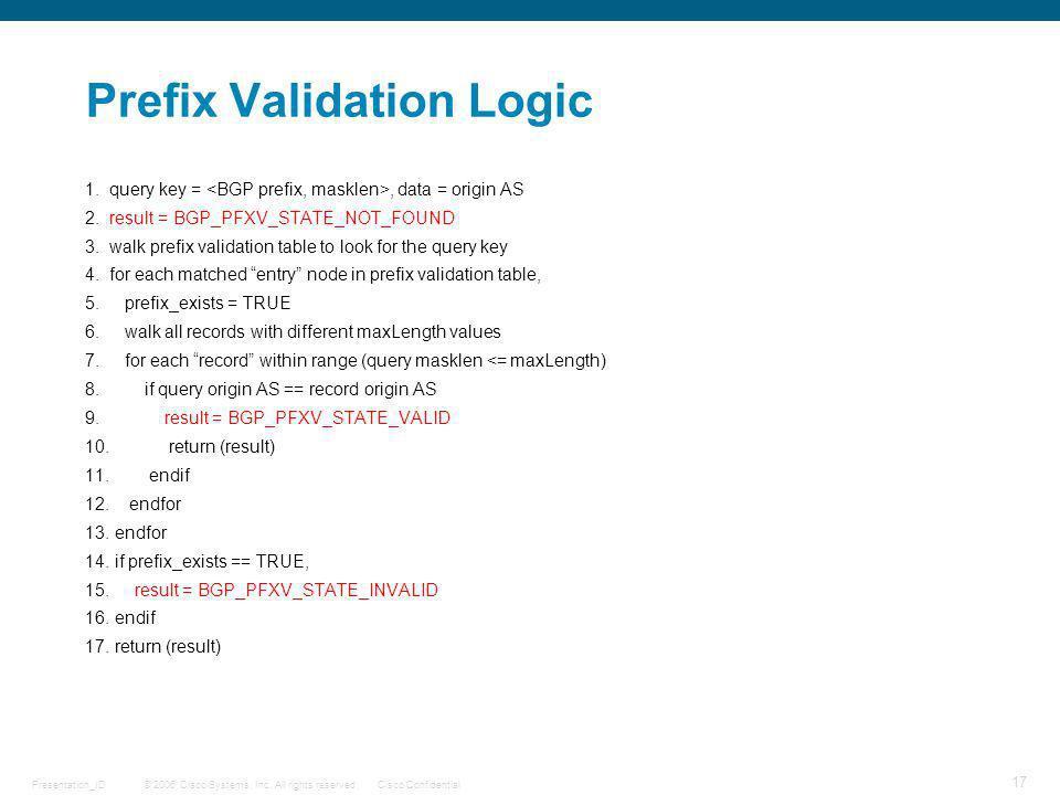 © 2006 Cisco Systems, Inc. All rights reserved.Cisco ConfidentialPresentation_ID 17 Prefix Validation Logic 1. query key =, data = origin AS 2. result