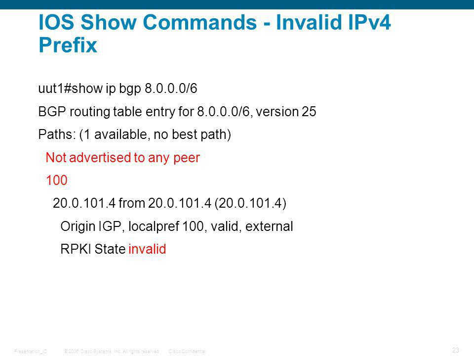 © 2006 Cisco Systems, Inc. All rights reserved.Cisco ConfidentialPresentation_ID 23 IOS Show Commands - Invalid IPv4 Prefix uut1#show ip bgp 8.0.0.0/6