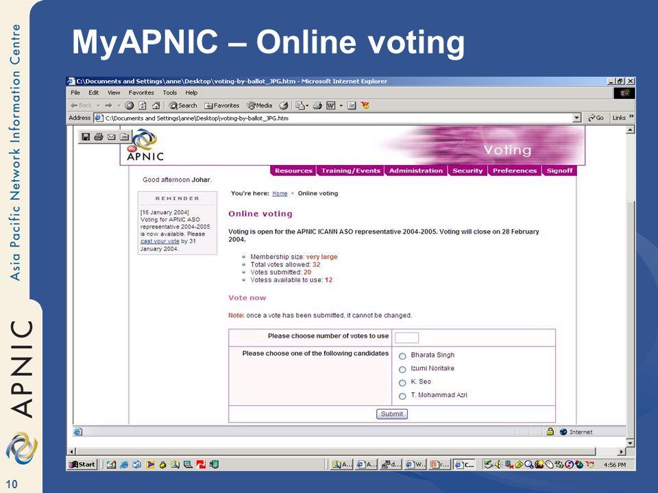 10 MyAPNIC – Online voting