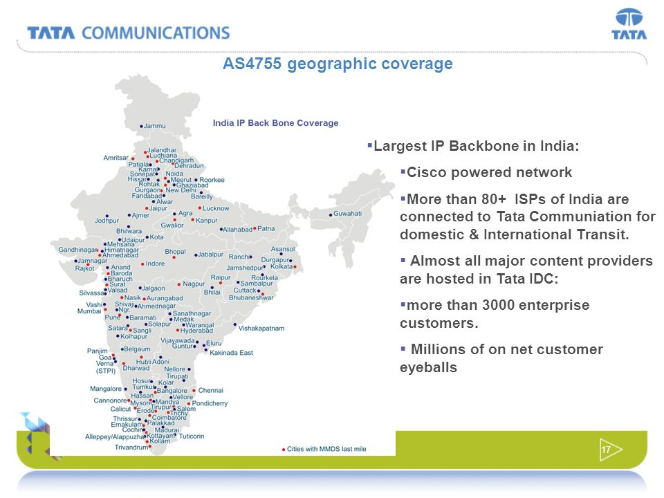 16 CORPORATE AS4755 India IP Backbone 120 POP locations across India.