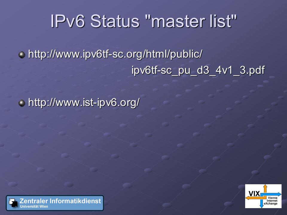 IPv6 Status master list http://www.ipv6tf-sc.org/html/public/ ipv6tf-sc_pu_d3_4v1_3.pdf ipv6tf-sc_pu_d3_4v1_3.pdfhttp://www.ist-ipv6.org/