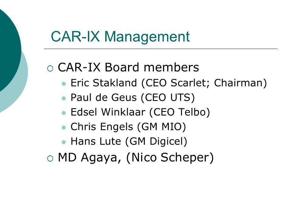 CAR-IX Management CAR-IX Board members Eric Stakland (CEO Scarlet; Chairman) Paul de Geus (CEO UTS) Edsel Winklaar (CEO Telbo) Chris Engels (GM MIO) Hans Lute (GM Digicel) MD Agaya, (Nico Scheper)