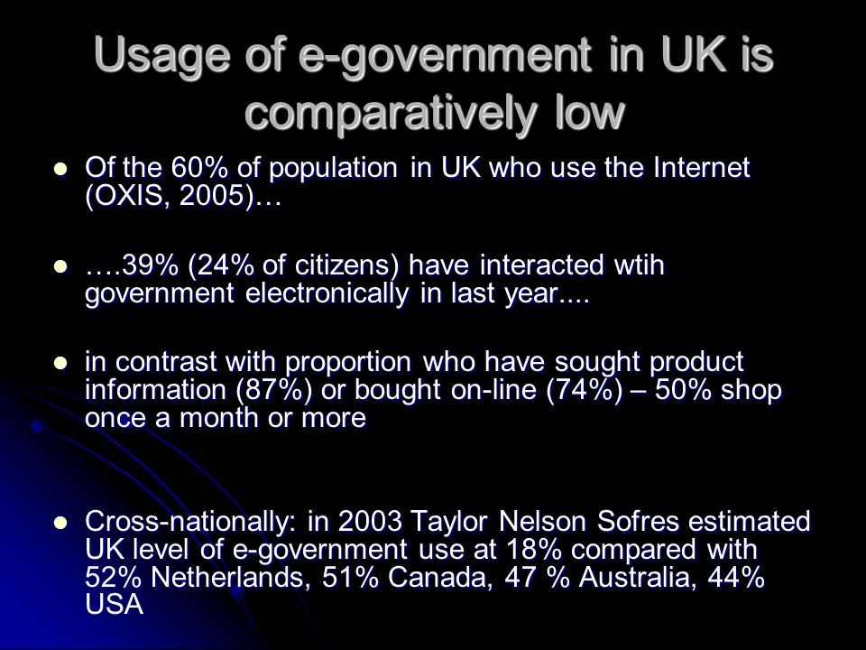 Usage of e-government in UK is comparatively low Of the 60% of population in UK who use the Internet (OXIS, 2005)… Of the 60% of population in UK who use the Internet (OXIS, 2005)… ….39% (24% of citizens) have interacted wtih government electronically in last year....