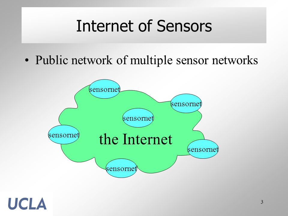 4 Benefits of Internet of Sensors Easy sharing and easy access Leverage what is available and contribute what is missing Freely combine data from multiple sources Enable unpredicted use of sensor data the Internet the sensornet (aggregate)