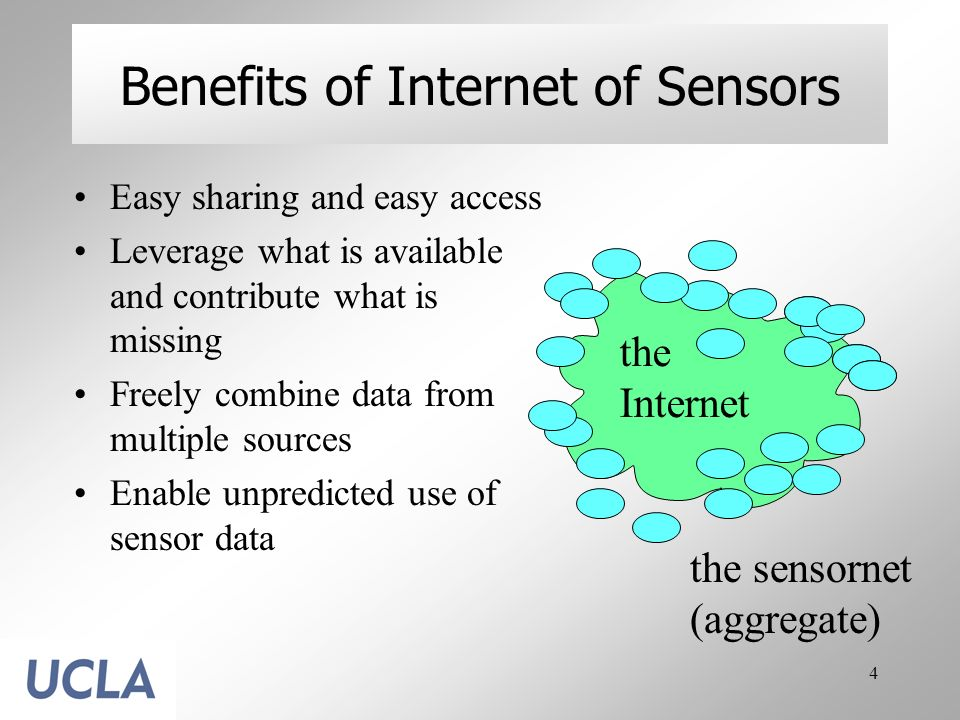 4 Benefits of Internet of Sensors Easy sharing and easy access Leverage what is available and contribute what is missing Freely combine data from mult