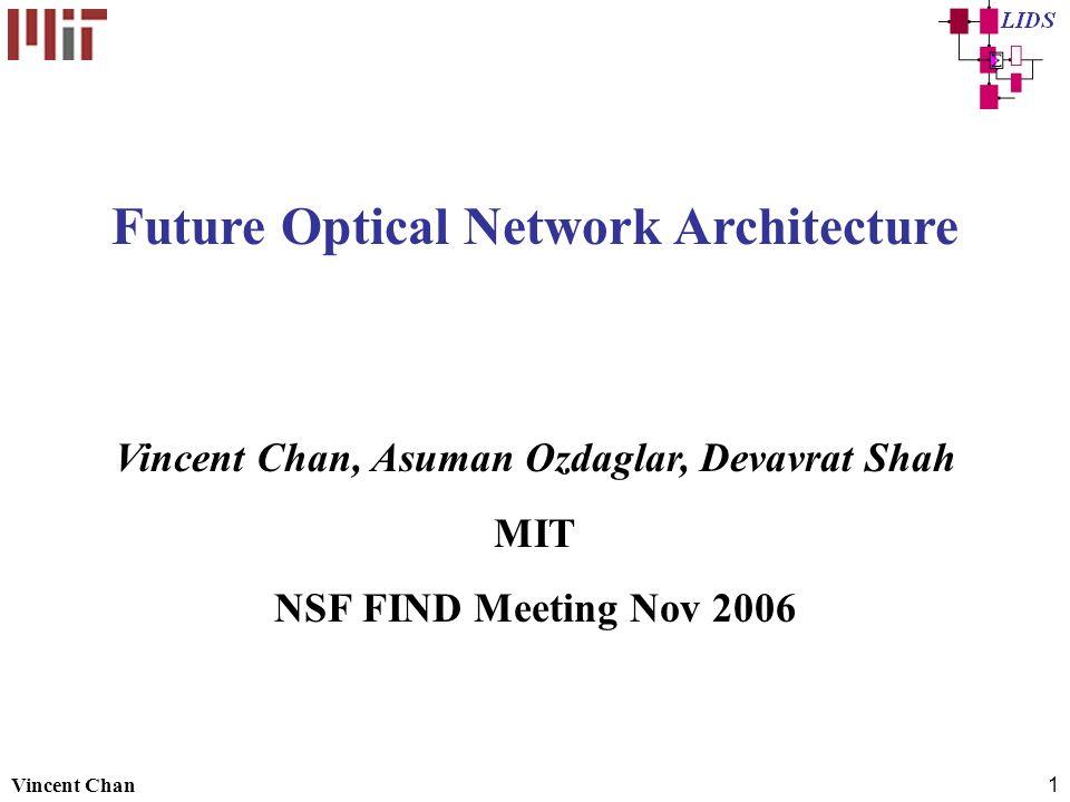 Vincent Chan1 Future Optical Network Architecture Vincent Chan, Asuman Ozdaglar, Devavrat Shah MIT NSF FIND Meeting Nov 2006