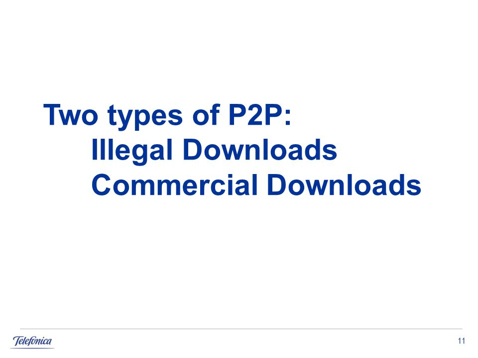 11 Two types of P2P: Illegal Downloads Commercial Downloads