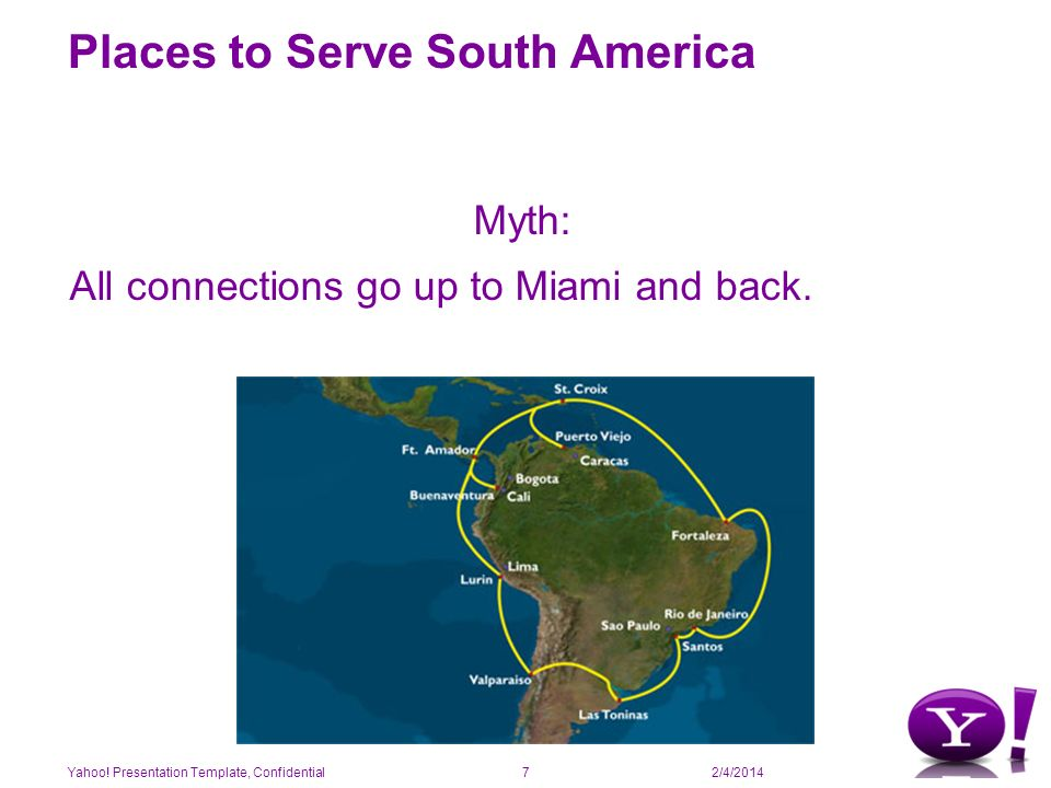 2/4/2014 Places to Serve South America There are other options if performance is a concern Prof of concept: placing a server in Miami and other in Sao Paulo with the same content Connecting to the main carriers in the region.