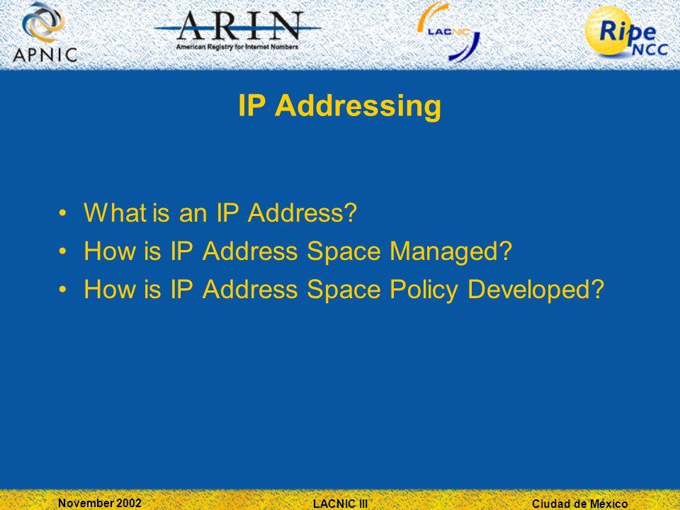 Ciudad de México November 2002 LACNIC III IP Addressing What is an IP Address.