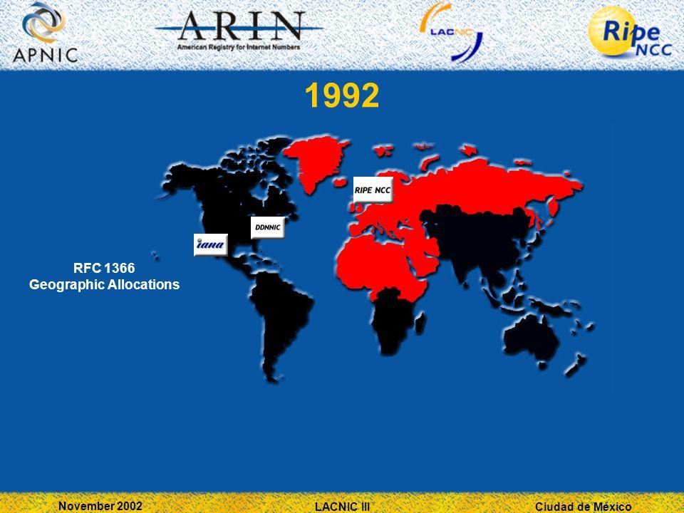 Ciudad de México November 2002 LACNIC III 1992 RFC 1366 Geographic Allocations