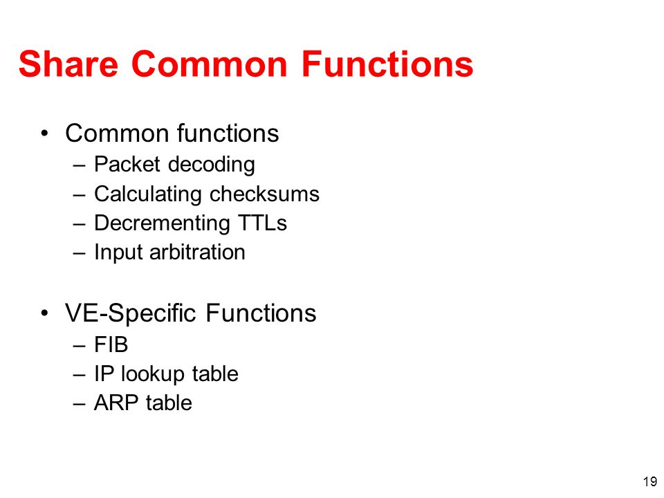 19 Share Common Functions Common functions –Packet decoding –Calculating checksums –Decrementing TTLs –Input arbitration VE-Specific Functions –FIB –IP lookup table –ARP table